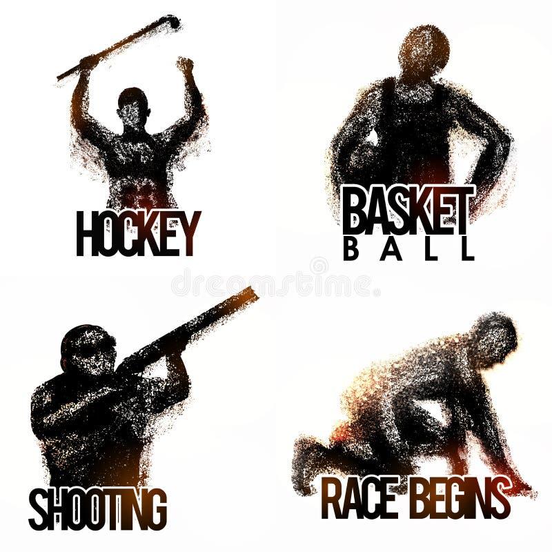 Grupo de jogadores diferentes dos esportes ilustração royalty free