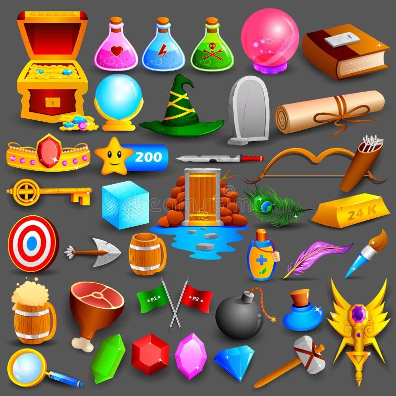Grupo de jogo colorido que projeta o elemento ilustração stock
