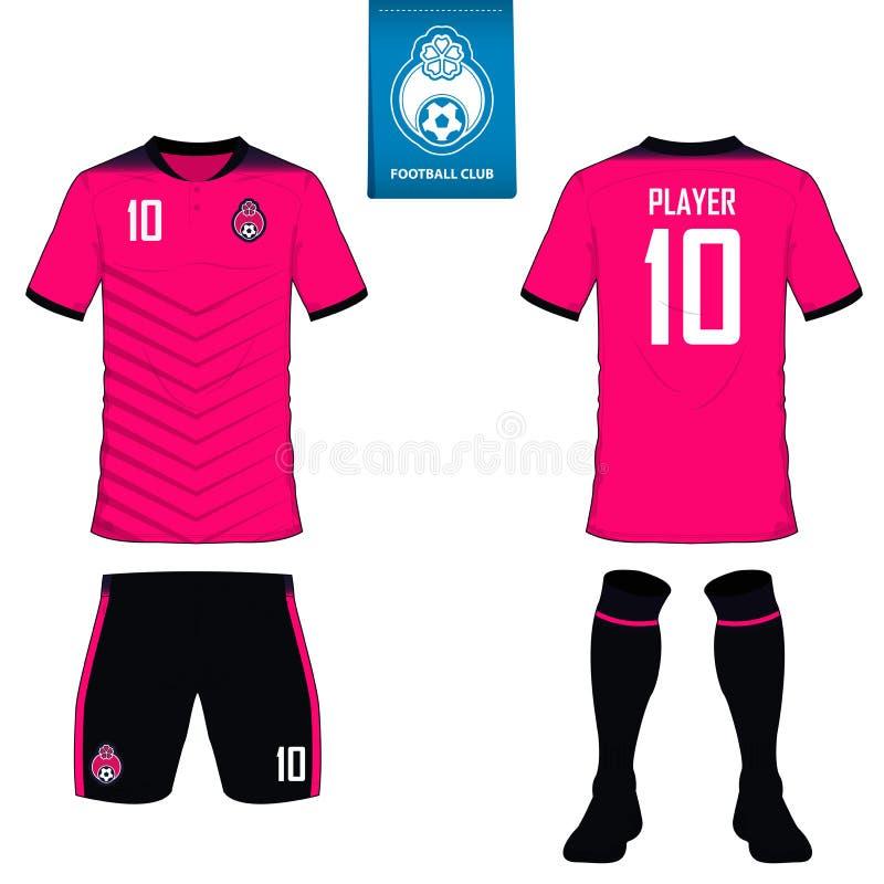 Grupo de jogo do futebol ou molde do jérsei do futebol para o clube do futebol Logotipo liso do futebol na etiqueta azul Unif dia ilustração stock