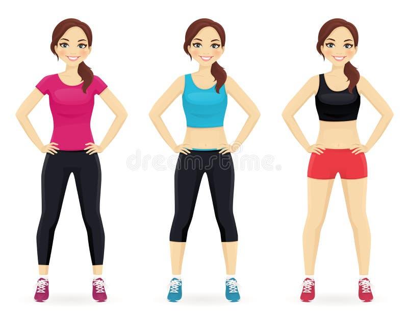 Grupo de jovem mulher no sportswear diferente ilustração royalty free