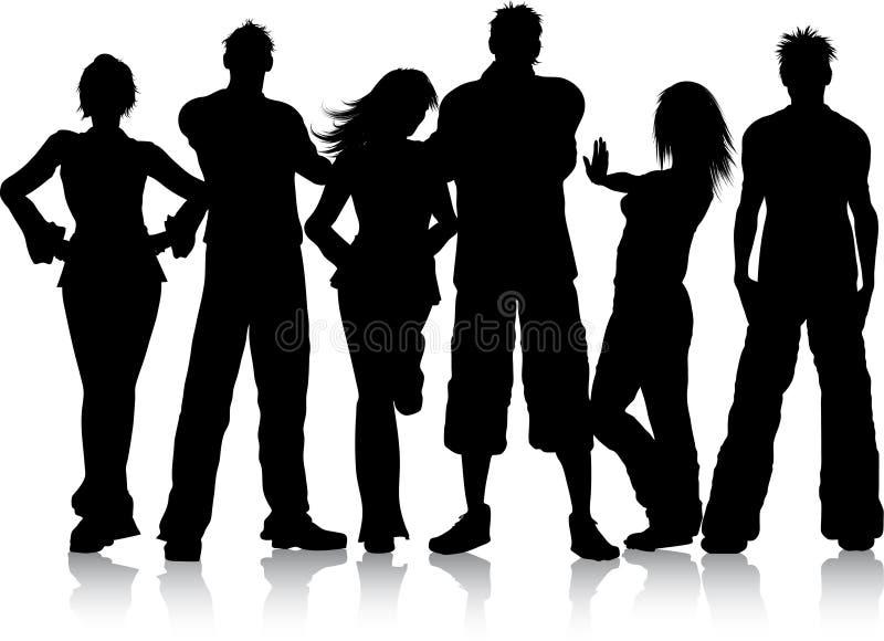 Grupo de jovens ilustração royalty free