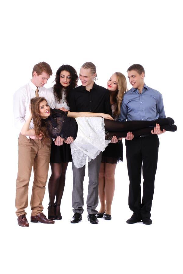 Grupo de jovens bonitos isolados fotos de stock