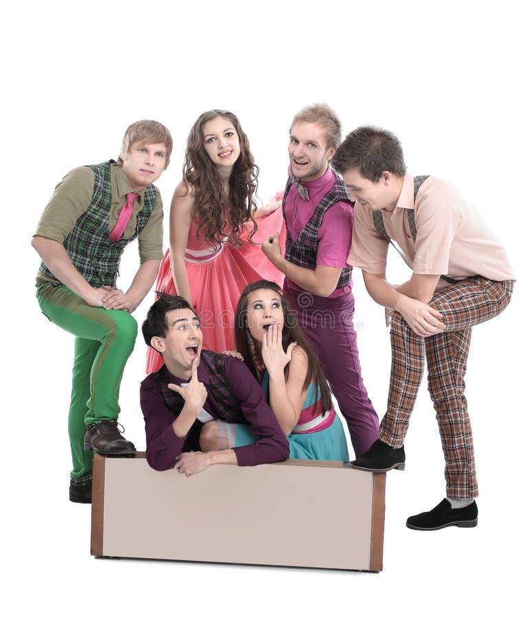 Grupo de jovens criativos Isolado no branco fotografia de stock royalty free