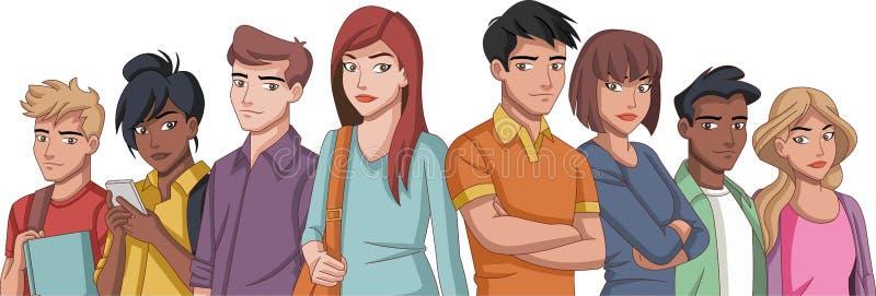 Grupo de jovens dos desenhos animados ilustração royalty free