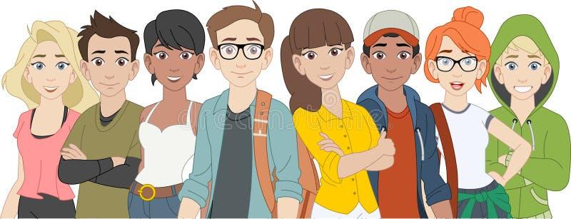 Grupo de jovens dos desenhos animados teenagers ilustração do vetor