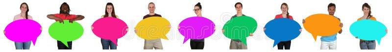 Grupo de jovens em seguido com bolhas e a bobina vazias do discurso imagem de stock