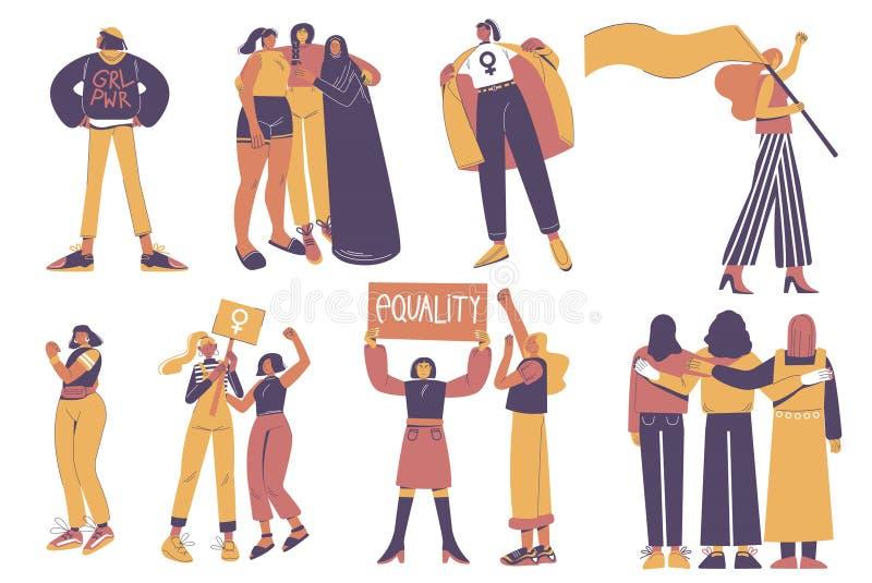 Grupo de jovens mulheres diversas de protesto que guardam a bandeira, bandeira, abraçando, ilustração isolada lisa do vetor Poder ilustração do vetor