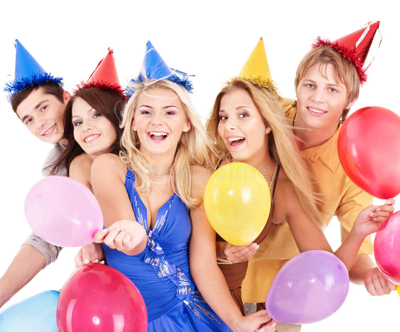 Grupo de jovens no chapéu do partido. imagens de stock royalty free
