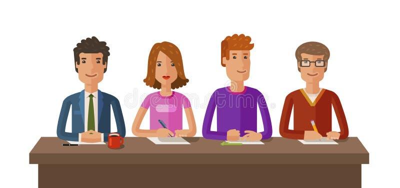 Grupo de jueces o de estudiantes Examen, educación, concepto del estudio Ejemplo plano del vector ilustración del vector