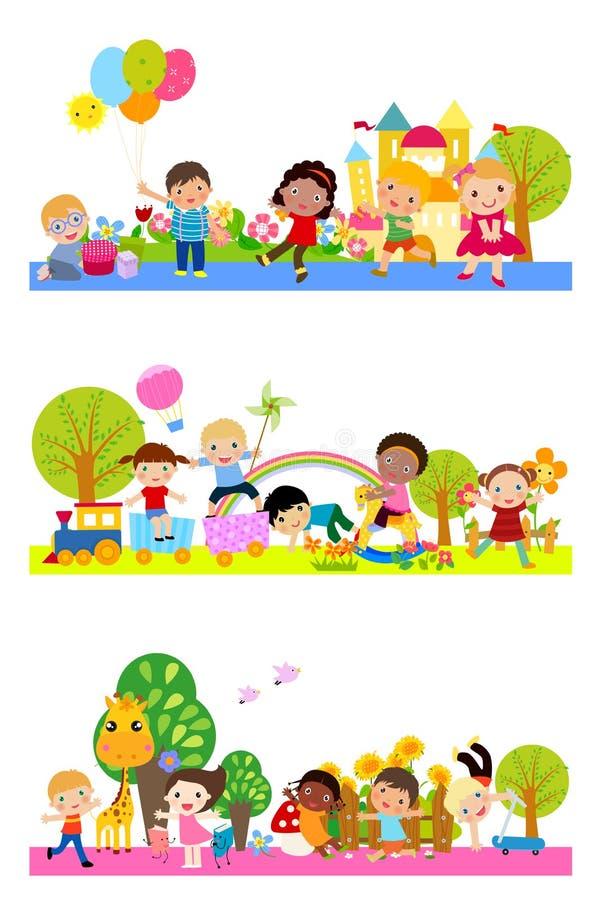 Grupo de jugar de los cabritos ilustración del vector