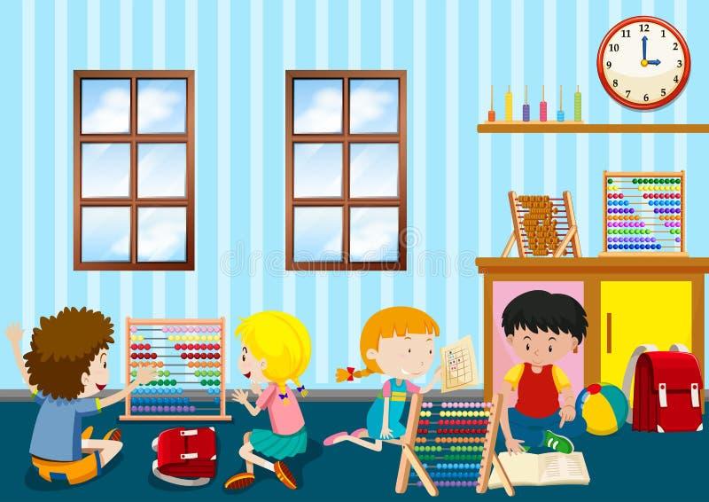 Grupo de jugar de los niños jovenes stock de ilustración
