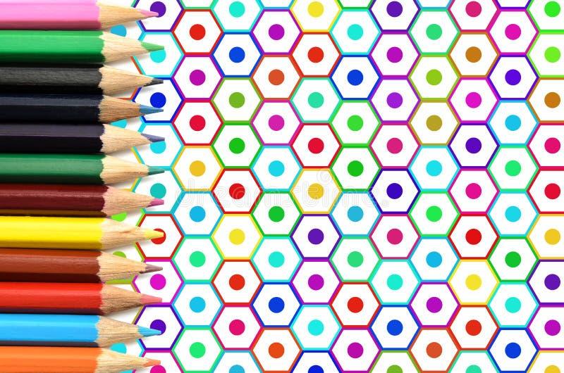 Grupo de lápis, de ilustração ou de desenho colorido foto de stock