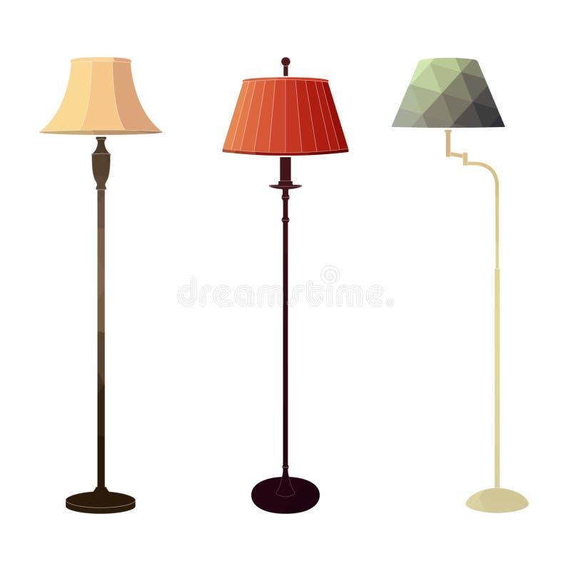 Grupo de lâmpadas de assoalho coloridas retros ilustração stock