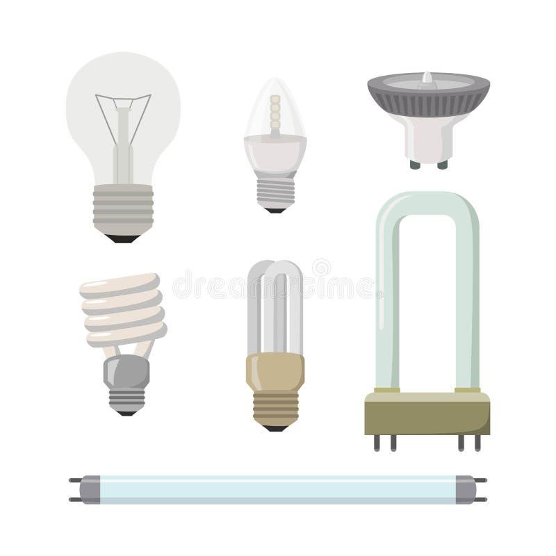 Grupo de lâmpadas diferentes em um fundo branco ilustração do vetor