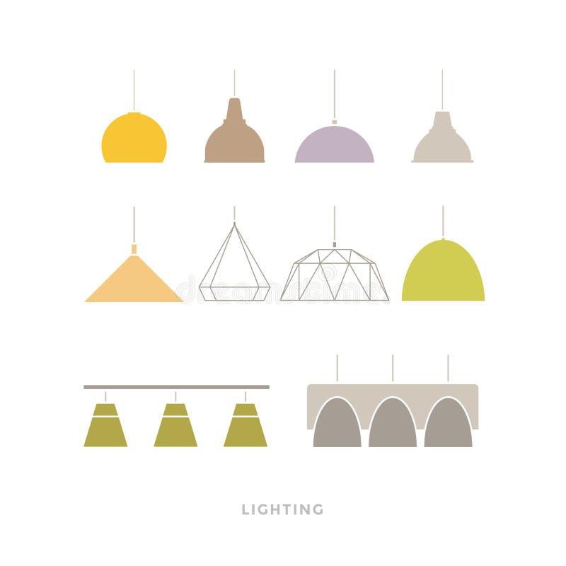 Grupo de lâmpadas modernas coloridas no fundo claro Ícones da mobília ilustração do vetor