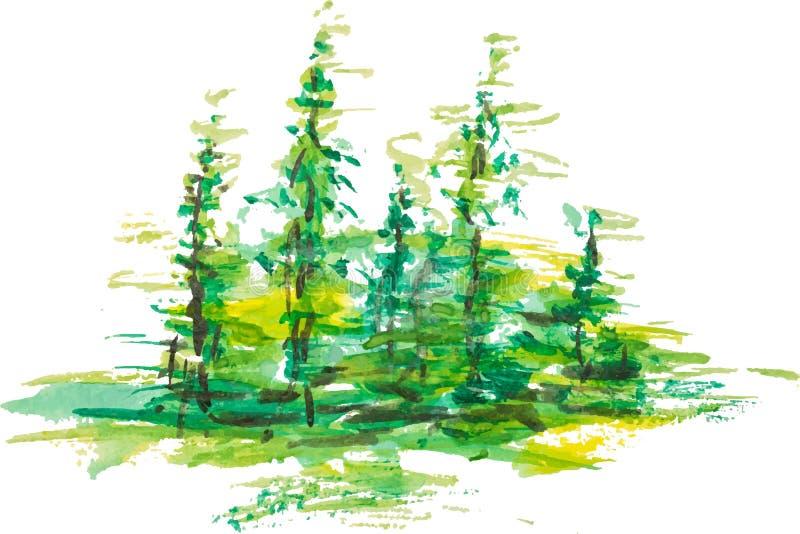 Grupo de la acuarela de paisaje verde del bosque de los abetos stock de ilustración