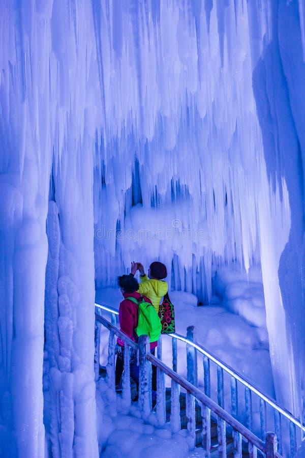 Grupo de la cueva de hielo de Yunqiushan imagen de archivo
