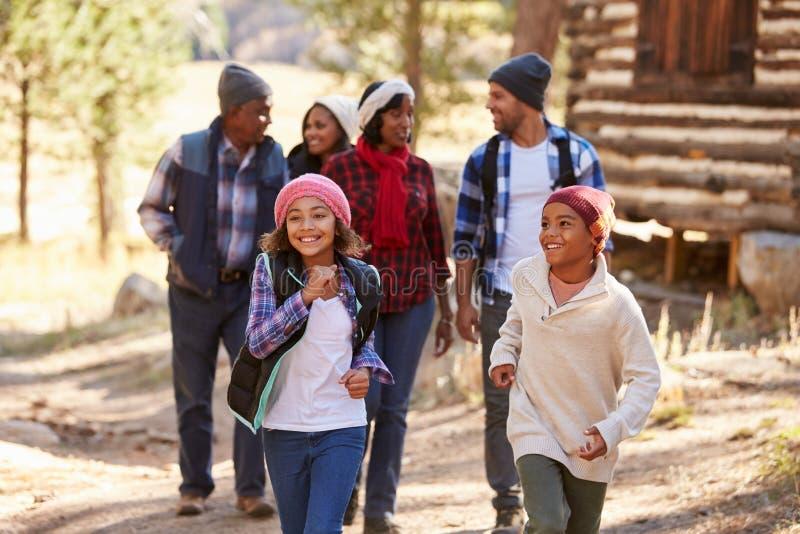 Grupo de la familia extensa en paseo a través del bosque en caída fotografía de archivo