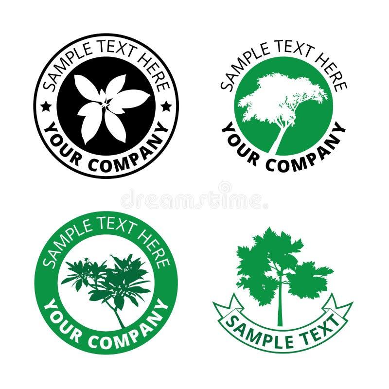 Grupo de la frontera verde negra del círculo del logotipo del árbol, sistema de la impresión de la esfera del icono del bosque de ilustración del vector