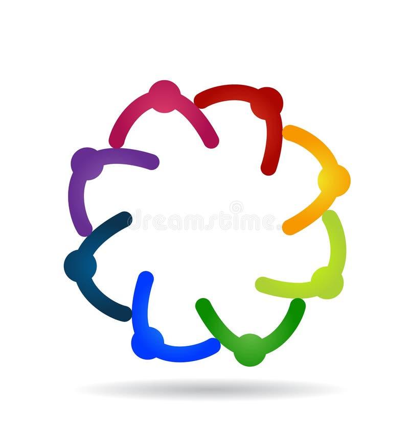 Grupo de la gente de la ayuda del trabajo en equipo, logotipo del vector stock de ilustración