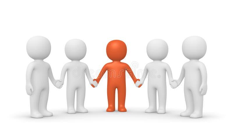 Grupo de la gente 3d con el líder libre illustration