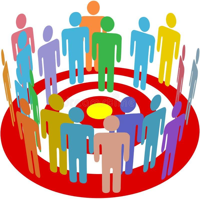 Grupo de la gente de la comercialización apuntada en blanco libre illustration