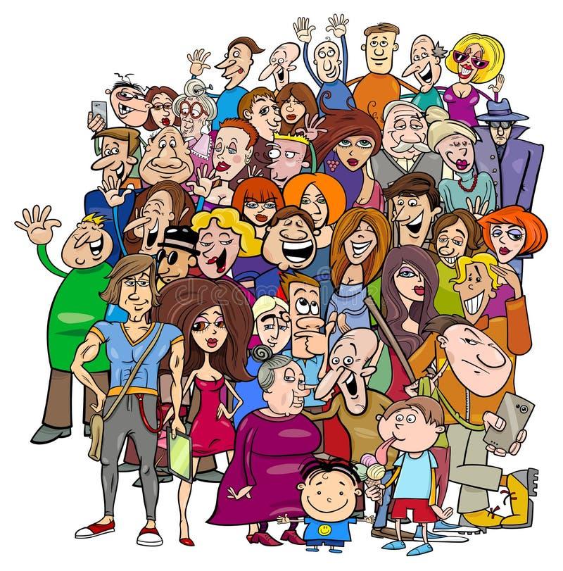 Grupo de la gente de la historieta en la muchedumbre ilustración del vector
