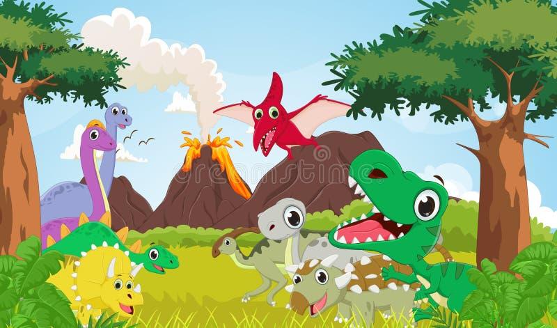 Grupo de la historieta de dinosaurio con el fondo prehistórico ilustración del vector
