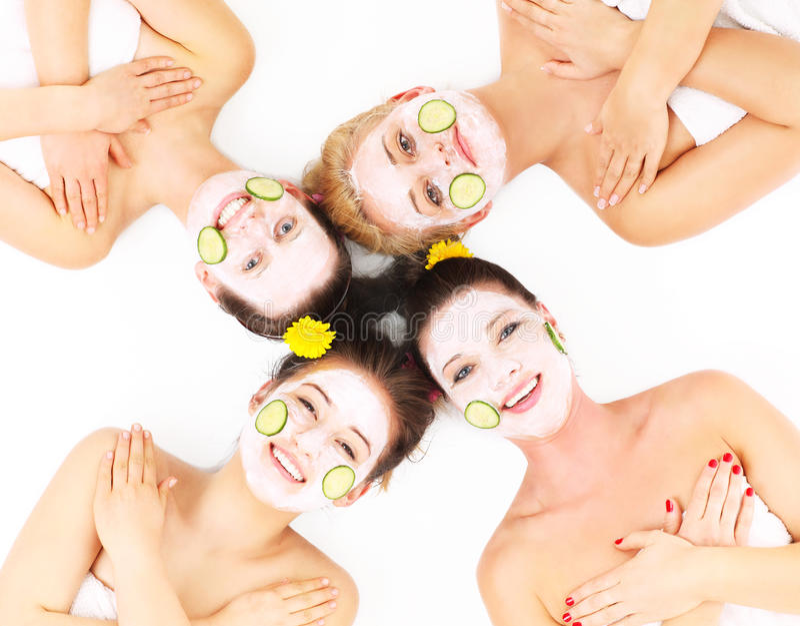 Grupo de la mujer en balneario foto de archivo libre de regalías