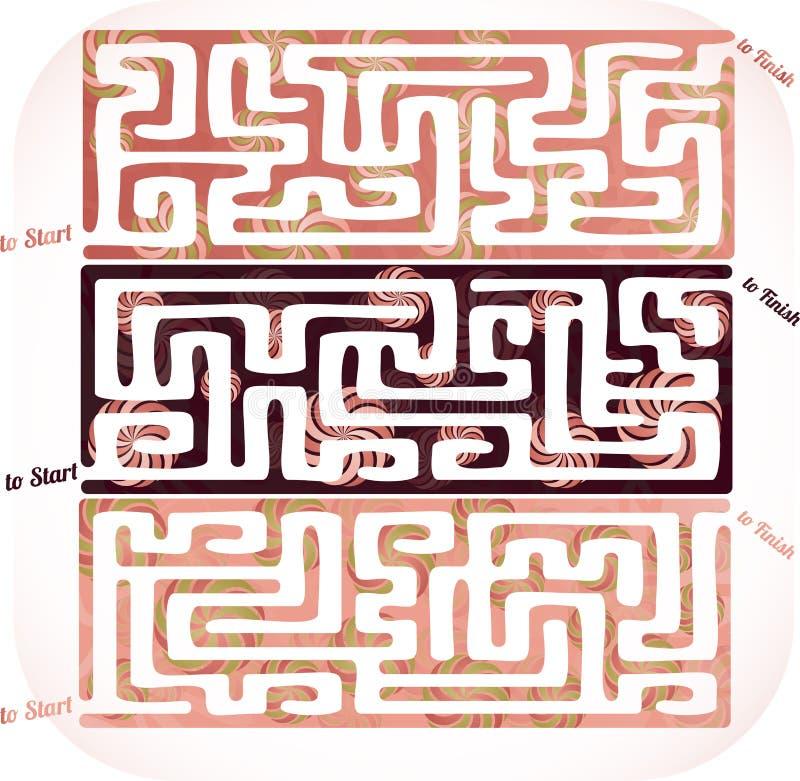 Grupo de labirinto do lolipop ilustração do vetor