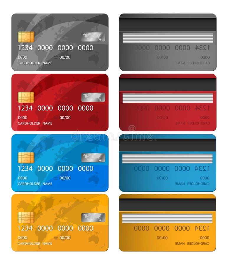 Grupo de lados do cartão de crédito dois do vetor Ilustração do vetor do cartão de crédito Solução do negócio ilustração royalty free