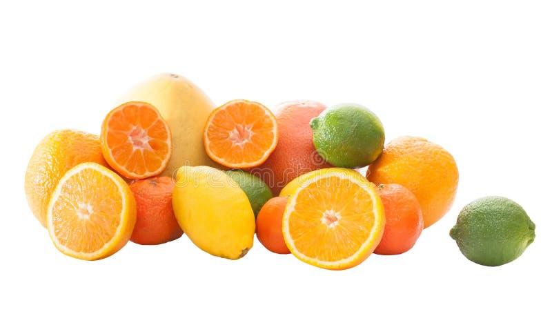 Grupo de laranjas, de limões, de cal, de tangerinas e de pomelo foto de stock royalty free