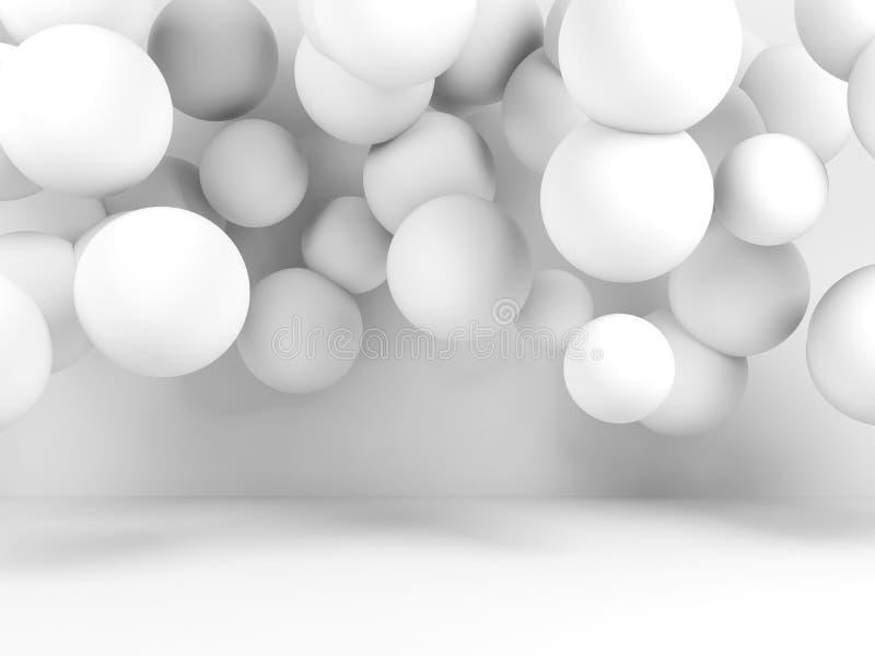 Grupo de las esferas blancas en sitio vacío, 3 d libre illustration