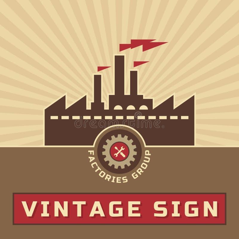 Grupo de las fábricas - vector Logo Sign del vintage ilustración del vector