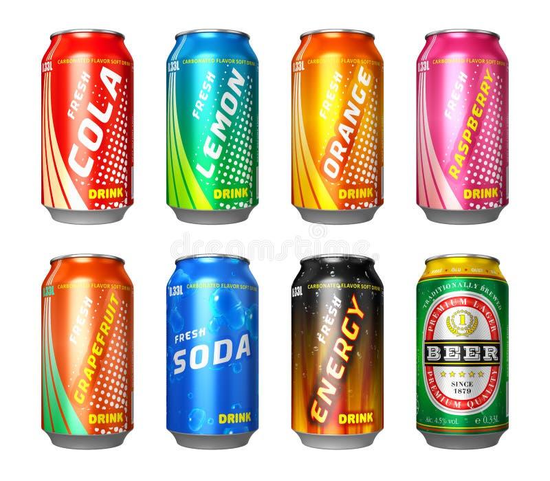 Grupo de latas da bebida ilustração royalty free