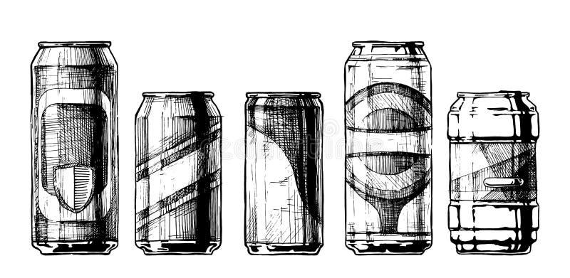 Grupo de latas de bebida ilustração do vetor