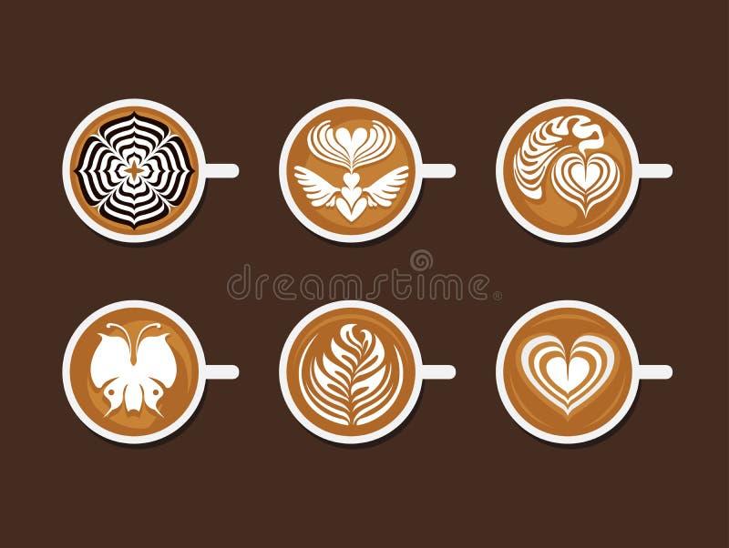 Grupo de Latte Art White Cup ilustração stock