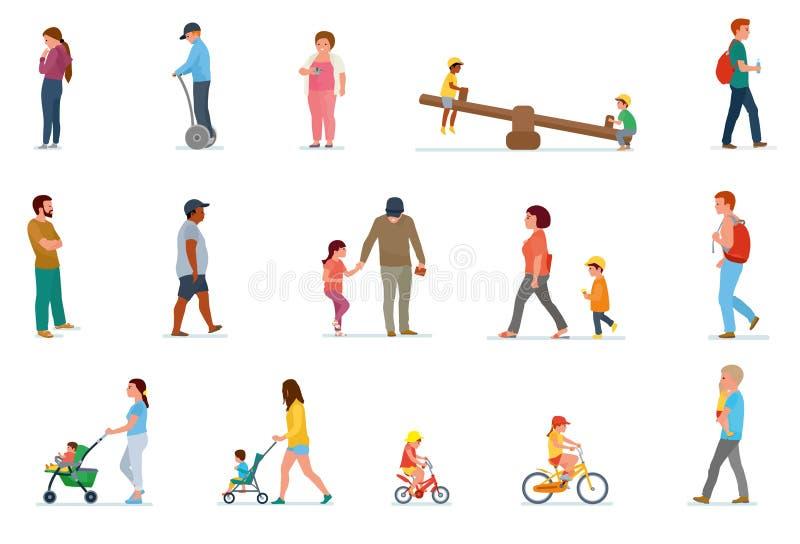 Grupo de lazer da família Almoço em casa, piquenique na natureza, caminhada em exterior, patinagem de rolo ilustração do vetor