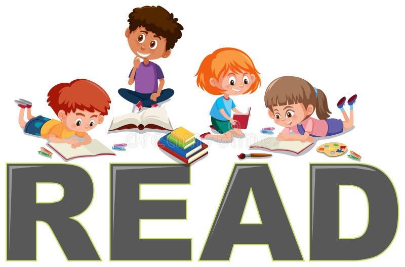 Grupo de leitura das crianças ilustração stock