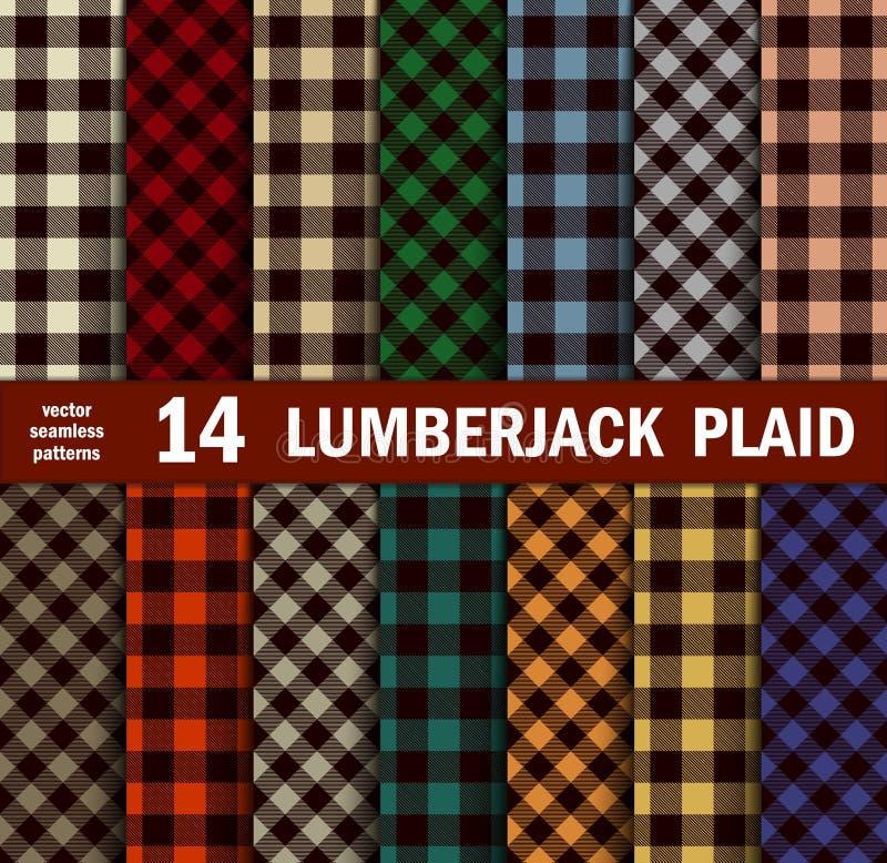 Grupo de lenhador Plaids Seamless Patterns em 14 cores ilustração royalty free
