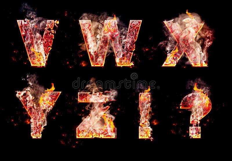 Grupo de letras ardentes do inferno imagens de stock royalty free