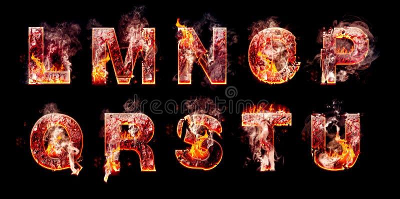 Grupo de letras ardentes do inferno fotos de stock