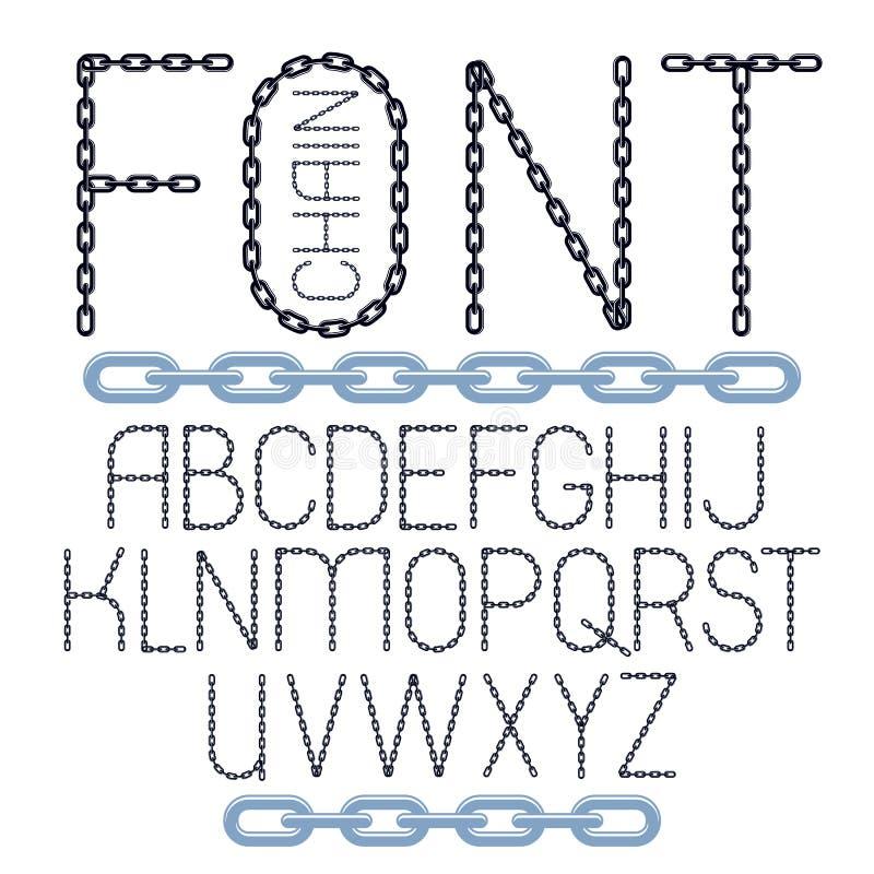 Grupo de letras do alfabeto inglês do vetor isoladas Fonte criativa caixa feita com elo de corrente de aço ilustração royalty free