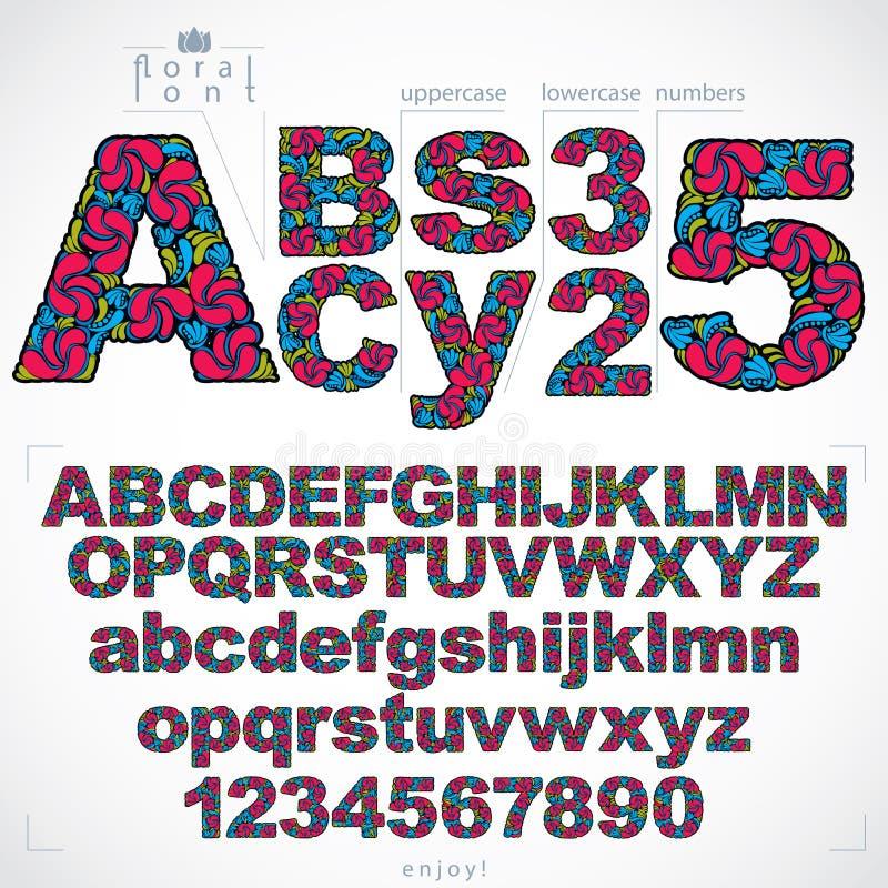 Grupo de letras e de números bonitos decorado com ornam erval ilustração stock