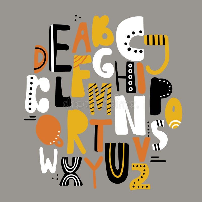 Grupo de letras inglesas decorativas ilustração royalty free
