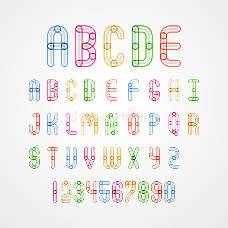 Grupo de letras principais à Z e números do alfabeto colorido ilustração royalty free