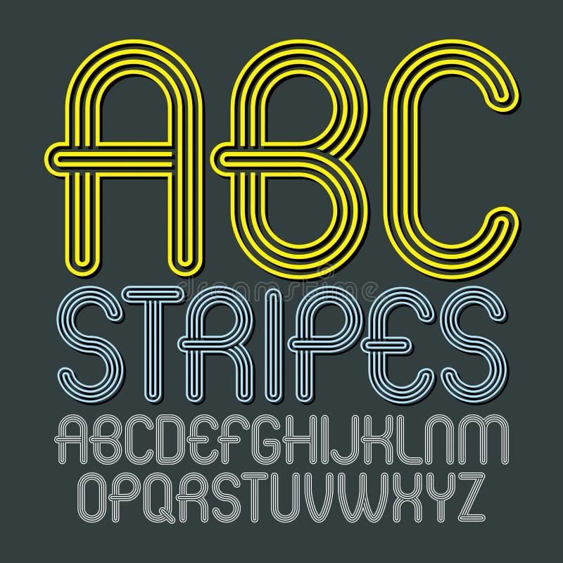 Grupo de letras principais do alfabeto do vetor moderno na moda, isolat do ABC ilustração stock