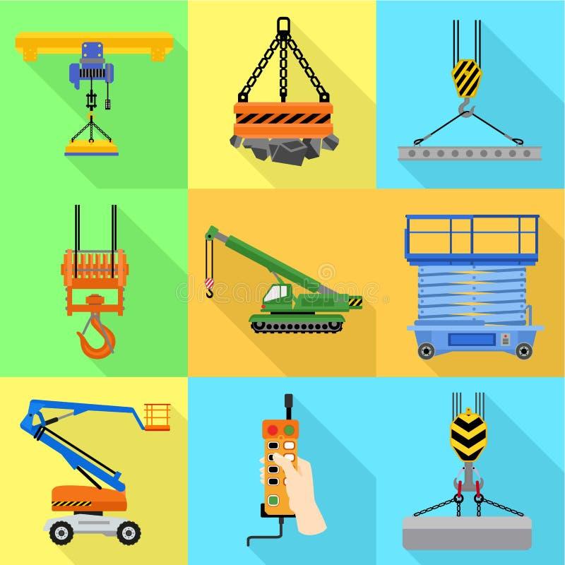 Grupo de levantamento portuário do ícone da máquina, estilo liso ilustração do vetor