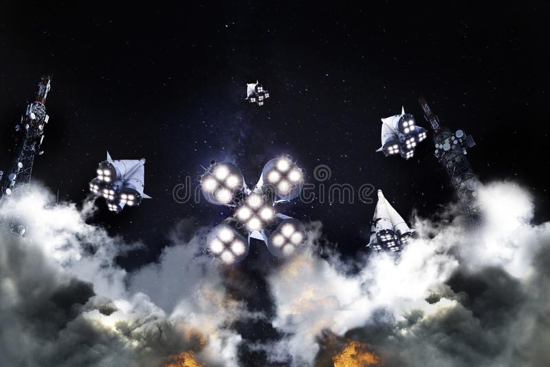 Grupo de liftoff dos foguetes a espaçar do launchpad foto de stock royalty free