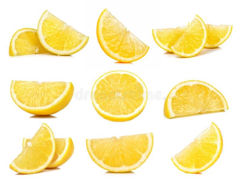 Grupo de limão da fatia isolado no fundo branco fotografia de stock